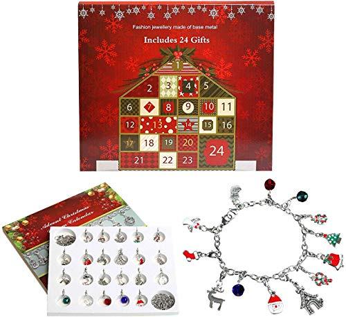 NALER アドベントカレンダー クリスマスプレゼント ブレスレット ネックレスチェーン クリスマスチャーム 24個セット