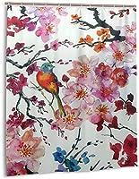 中国の鳥のシャワーカーテン、バスルームのカーテンの装飾のためのポリエステル防水ファブリックバスタブセットフック付き60 X72インチ-プラスチック-ワンサイズ