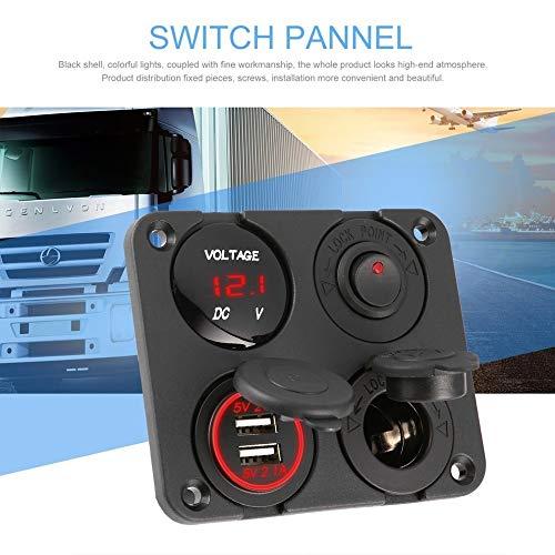 JLMOH Interruptor de Encendido, 4 en 1 Doble Puerto USB Cargador de Coche + 12-24V LED del voltímetro + Toma de alimentación + de Encendido y Apagado del Panel de inactividad Car Marina Barco LED