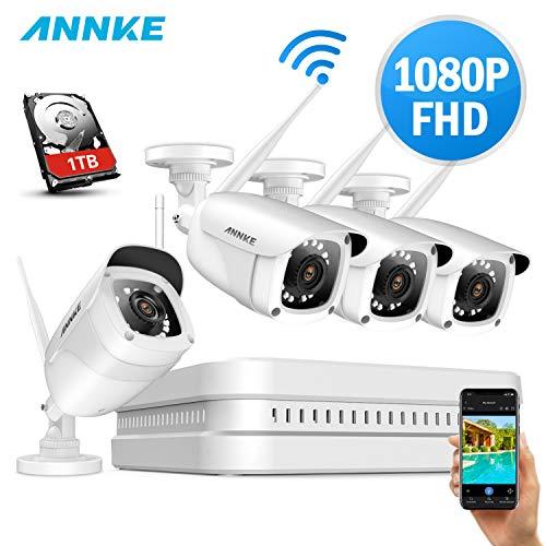 ANNKE Kit de Seguridad 1080P 8CH WIFI NVR H.265 y 4 Cámaras de Vigilancia inalámbricas 2.0MP Impermeable de visión nocturna 1TB disco duro de vigilancia(2.5 pulgada)
