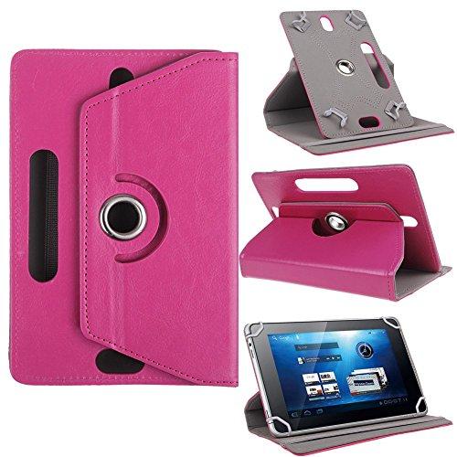 Funda universal para tablet de 10 pulgadas, con soporte universal para Tab de 10 pulgadas, rotación de 360 grados, varios ángulos de visión, efecto piel, rosa oscuro, magenta