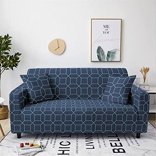 Fundas de Sofá Elastica 4 PlazasPatrón de Cuadros Azul Funda Cubre Sofa Regalar 2 Funda de Cojines Funda para Sofá Funda de sofá de Sillón Antideslizante Protector Cubierta de Muebles