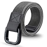 ITIEZY Men's Canvas Belt Military Style Double D-Ring Buckle Casual Webbing Belt in Gift Box
