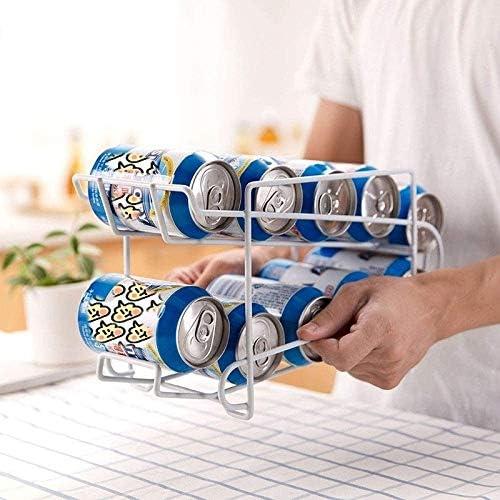 Durable Boîtes de roulement Rack de stockage de bière Coke Double rack Réfrigérateur plateau (Color : White) White