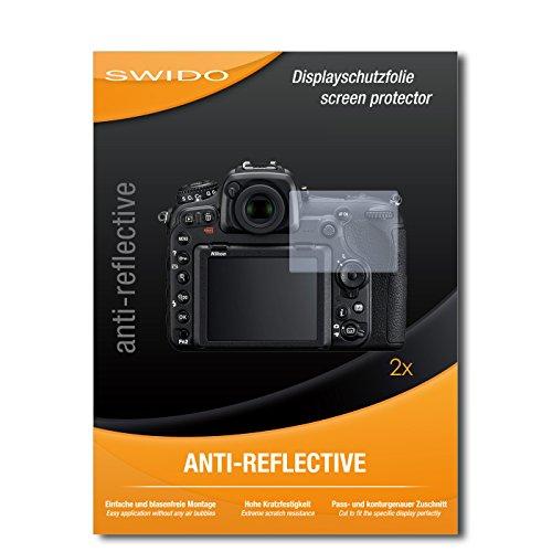 SWIDO Schutzfolie für Nikon D500 [2 Stück] Anti-Reflex MATT Entspiegelnd, Hoher Härtegrad, Schutz vor Kratzer/Displayschutz, Displayschutzfolie, Panzerglas-Folie