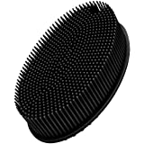 FReatech Body Exfoliating Scrub Shower Brush, 2-sided Silicone Bristles for Wet & Dry Brushing, Gentle Massage and Fine Cleansing, Care for All Skin Types, Softer & Durable Than Loofah, Black