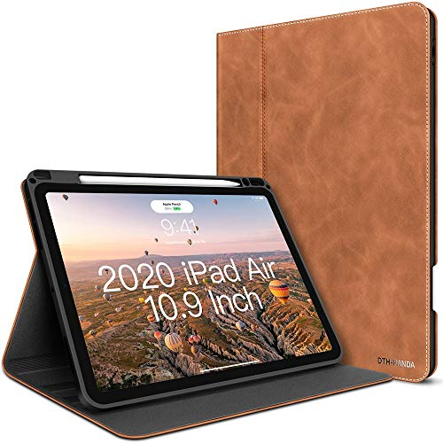 iPad Air 4th Generation Case 2020 New iPad Air 10.9 Inch Case W Pencil Holder PU Leather Folio Stand Smart Cover with Pocket Auto Sleep/Wake[Supports Wireless Charging] (Ash Brown)