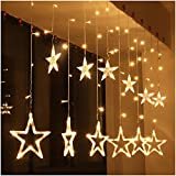⭐ 8 Lighting Modes : This Star Light LED curtain light is one button control, press the button you can select 8 different modes to meet your diverse needs ⭐ Easy to use : 12 Stars(2 sizes), total 138pcs LED curtain string lights, Low voltage and ul L...