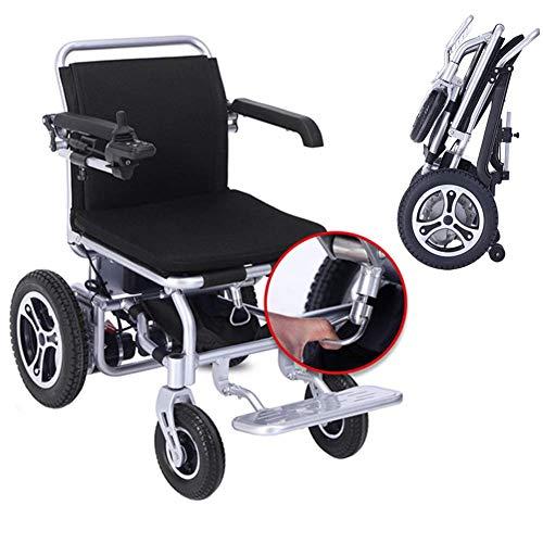 WRJY Sedia a rotelle Pieghevole Pieghevole elettrica compatta per ausilio alla Mobilità Deluxe, Sedia a rotelle elettrica Pieghevole Leggera con 2 batterie, Sedia a rotelle motorizzata,