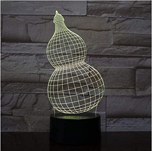 Lámpara LED para dormir 3D Gourd net7 Lámpara de mesa de color USB Mood Artístico Niños Dormitorio Iluminación para dormir junto a la cama-16 color remote control