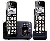 Panasonic KXTGE722EB Big Button DECT Cordless Telephone with Nuisance Call Blocker & Digital Answering Machine (Twin Handset Pack) Black