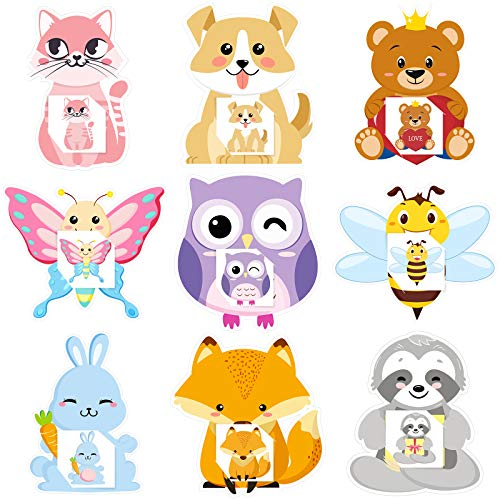 45 Pieces Animal Valentine's Day Cards Cartoon Animal Cards with Envelopes and Stickers for Kids Present Exchange Valentine's Day Party Supplies School Children Party Favors