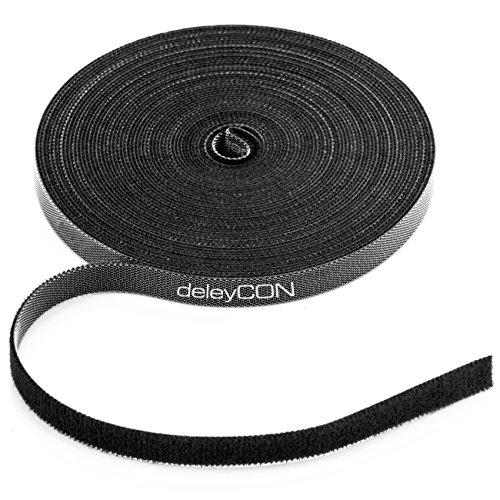 deleyCON 10m Klett Kabelbinder Klettband Klettbandrolle 10mm Breit Kabelmanagement Kabelorganizer Klettkabelbinder Klettverschluss zuschneidbar Schwarz