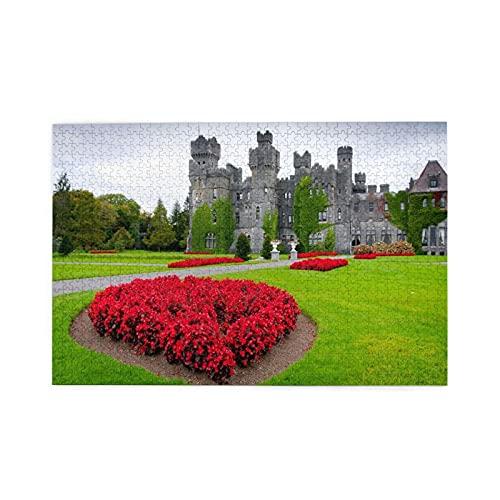 Rompecabezas de 1000 piezas,castillo y jardines de Ashford en el condado de Mayo,Irlanda,ilustraciones de juegos de rompecabezas para familias grandes para adultos y adolescentes