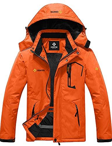 GEMYSE Chaqueta de Esquí Impermeable de Montaña para Hombre Abrigo de Invierno de Lana Antiviento con Capucha (Naranja 01,XL)