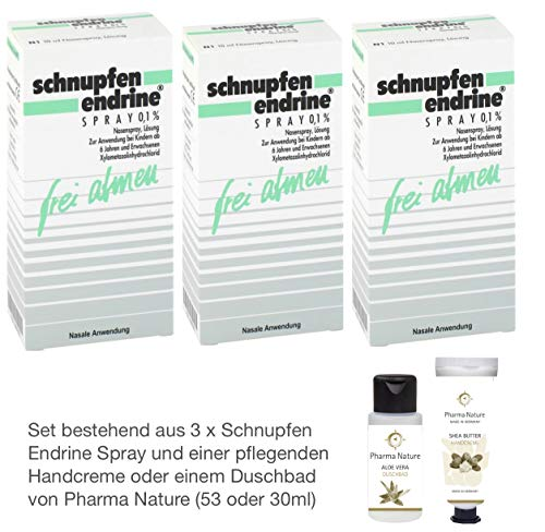 Schnupfen Endrine 3er Sparset 3 x 10 ml Spray inkl. einer hochwertigen Handcreme o. Duschbad von Pharma Nature (Apotheken-Express)