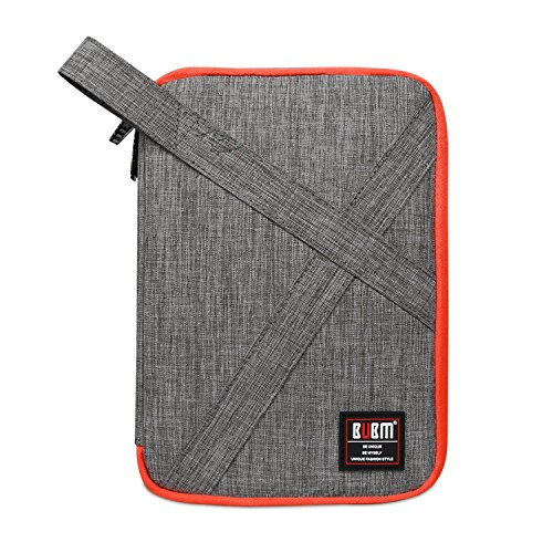 Travel Organizer Electronics Accessories Bag with Handle for USB Cable Charger Battery Fit for Phone Hard Drive 10inch Ipad Mini Air Double Layer Grey Digital Storage Bags