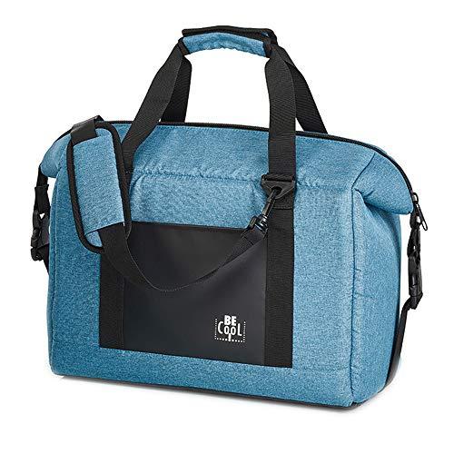 Grand sac isotherme Be Cool sac de courses aspect Jeans avec de larges anses et une bandoulière réglable pour cosmétiques, médicaments, excursions, pique-niques, école, 37x19x25 cm, volume : env. 16 L
