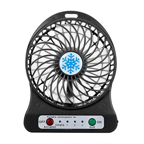 Igemy Portable rechargeable lumière LED Fan Air Cooler Mini ventilateur de bureau USB 18650 Batterie noir
