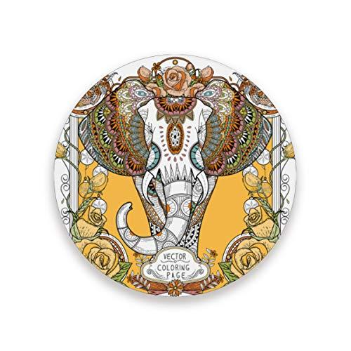 LUPINZ Splendid Elephant Cup Mat Isolierte, flexible langlebige rutschfeste Untersetzer feuchtigkeitsabsorbierende Untersetzer mit Korkboden, Holz, 1, 2 pieces set