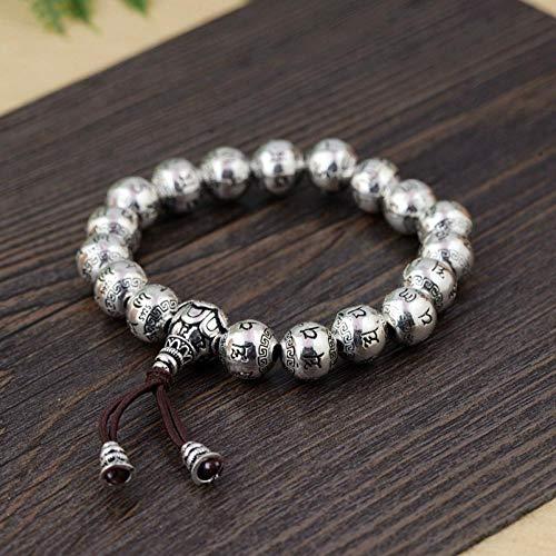 ESCYQ Damen Armbänder Armband Bettelarmband,S 925 Silber Antik Armreif Männlichen Und Weiblichen Buddhistischen 6-Wort Mantra Text Armband