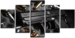 Picture On Canvas Wall Art Home Framework Living Room 5 Panel Black Gun Modular Decoration Posters HD Printed Modern Paint...