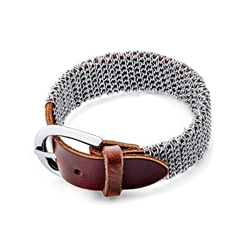 Bling Jewelry Hip Hop Retro Bikers Punk Rocker Thick Wristband Metal Mesh Chain Maille Genuine Brown Leather Wide Belt Buckle Bracciale Uomo Donna Teen Regolabile