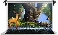 HD7x5ft鹿の背景古い森の鳥蝶の背景家族の自然休暇のテーマパーティー子供の誕生日パーティー写真スタジオの小道具LYFS145