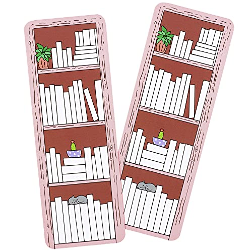 50 Pieces Book Tracker Bookmark Bookshelf Design Bookmark Double-Sided Reading Page Markers for Reader Writer Student Book Lover