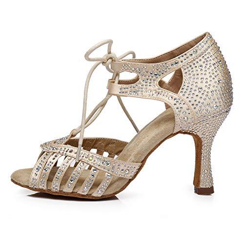 SWDZM Zapatos Baile Latinos Mujer,Zapatos Baile de Salon Mujer,Salsa,3.35'' Talón,Modelo Beige 43EU