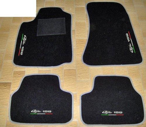 ALFA ROMEO 159Auto-Fußmatten Schwarz mit Rand grau Perle, Komplettset-Gummimatten passgenau mit Stickerei dreifarbig Bianco