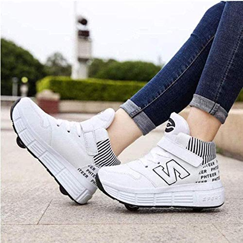 Rollschuhe Schuhe Mit Rollen 2-in-1 Kinder Skateschuhe Turnschuhe,White-38