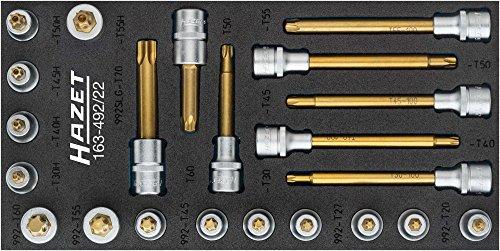 Hazet Schroevendraaier-dopsleutel-inzetset, (Robertson) 12,5 = 1 х 2 stuks 163-492/22 ∙ Vierkant 12,5 mm (1/2 inch) ∙ Binnen, Tamper Resistant TORX-profiel ∙ Aantal gereedschappen: 22, gecoat