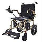 HSJDP Silla de Ruedas eléctrica Ligera Silla de Viaje de tránsito portátil Plegable y Liviana Totalmente automática con cojín antiescaras Adecuado para Ancianos discapacitados,Oro