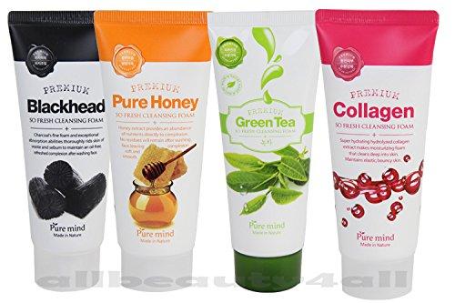 4 pc Set Fresh Cleaning Foam (Blackhead, Pure Honey, Collagen, Green Tea) Made in Korea