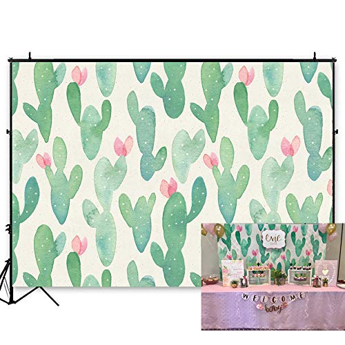 7x5ft Vinyl Cactus Party Backdrop Bridal Shower Fiesta Birthday Cactus Desert Party Watercolor Flowers Mexican Theme Birhhday Backdrop KP-267