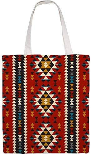 Native Southwest American Indian Aztec Navajo Shoulder Bag Canvas Tote Bag, Reusable Grocery Shopping Cloth Bags, Double-sided Printing Tote Handbags