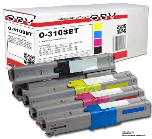 OBV 4x kompatibler Premium Toner für OKI C310 C330 C510 C511 C530 MC351MC351DN MC352DN MC361DN MC362DN MC561DN MC562 schwarz, cyan, magenta, gelb