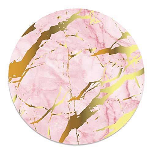 Mauspad Marmor-Look I Ø 22 cm rund I Rosa Gold Mousepad in Standard-Größe, rutschfest I schlicht modern I Stein-Optik Granit I dv_691