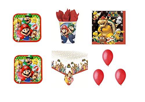 Super Mario Bros Luigi et fête – Kit N ° 23 CDC- (40 assiettes, verres, 40 serviettes, 1 nappe, 100 ballons rouges)