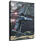 Star Wars Characters X-Wing Starfighter Wallpaper Print Wall Art poster Bedroom Home Decor Canvas Oil Painting Fan gif (12X18inch,No Frame)