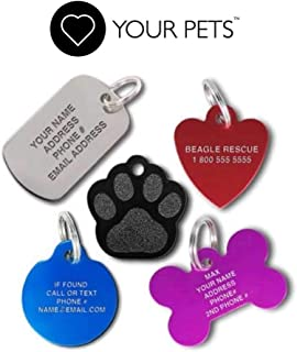 Love Your Pets Pet ID Tags - Custom Engraved Stainless Steel - Personalized with Tracking. Made in The USA - 48 Choices - Stainless Steel, Brass, Aluminum Pet Tags, Dog Tags, Cat Tags