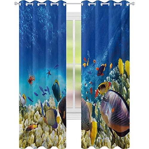 Cortinas opacas para dormitorio, hada bajo el agua con peces y fuente de oxígeno coral acuático cultivo líquido paisaje, 52 x 72 cortinas de ventana para habitación de bebés, multicolor