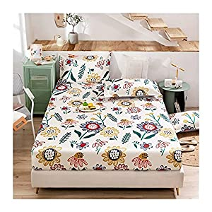 MZP Deep Pocket Fitted Bed Sheets Ice Silk Printed mat Comfy Breathable Cool in Summer 1 Bottom Sheets ONLY Twin Small Double Full Super King Queen (Color : Flower, Size : 120x200cm)