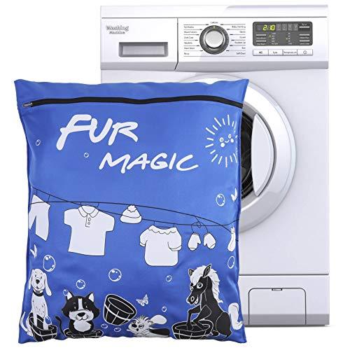 Popuppe Wäschesack für Haustiere, 70x80cm Haustier Wäschesack mit Reißverschluss für Hunde, Katzen, Pferde Handtücher, Bettwäsche, Decken, Spielzeug(Blau)