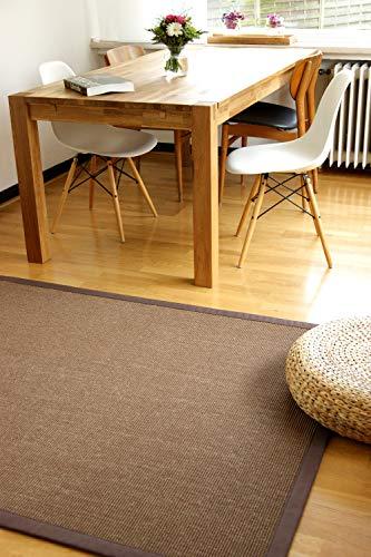 Alfombra Natural de Sisal Coffee marrón 110x170 cm Borde de algodón 100% Fibra Natural