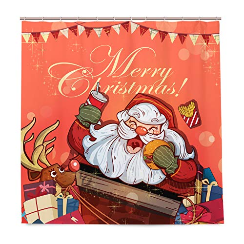 DZGlobal Merry Christmas Duschvorhang – rotes Rentier Santa Claus Custom Fashion Polyester Duschvorhang Happy New Year Baddekor 183 x 183 cm