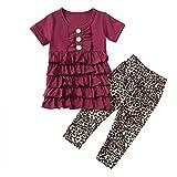 Julhold Conjunto de ropa de manga corta para bebés y niñas con encaje en niveles