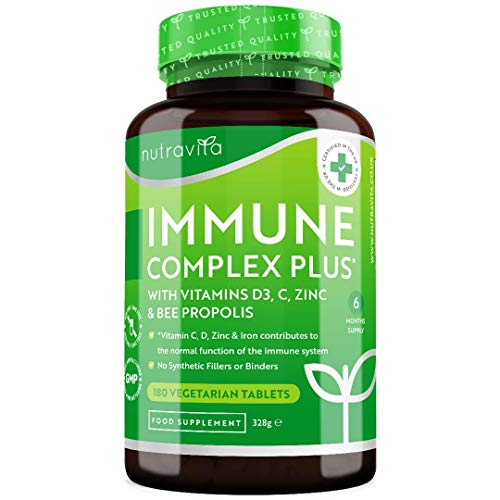 Immune Complex Plus Supplement with Vitamins D3, C, Zinc and Bee Propolis - 180 Immune System Support Tablets with No Synthetic Binders or Fillers - Made in The UK by Nutravita