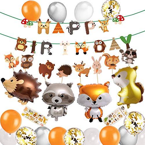 Sunshine smile Fuchs Geburtstag Deko, Kindergeburtstag Dekoration, Happy Birthday Banner, Happy Birthday Luftballons, Konfetti Luftballons, Party Deko, Geburtstag Deko Junge (Fuchs)